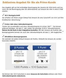 Amazon VISA Card mit 50€ Startguthaben