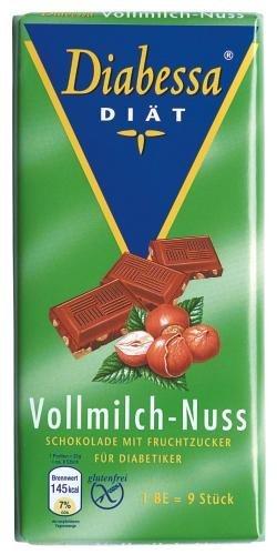 Wieder da !! Amazon: Diabessa Diät Vollmilch-Nuß Schokolade, 15er Pack (15 x 100 g Packung) Nur 3,90 für PRIME Kunden, sonst + 3 € Versand