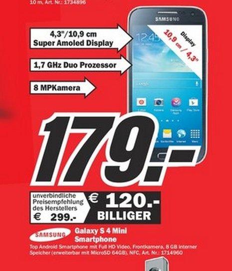 Samsung Galaxy S4 Mini für 179€,Google Chromecast für 25€ Lokal [Mediamarkt Memmingen Geburtstagsangebote]