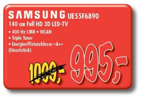 Lokal/Offline: Samsung UE55F6890 für 995 €