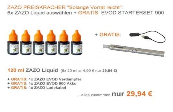 120ml E- Liquid + E- Zigarette gratis um 29.94.-