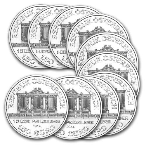 Silbermünze Wiener Philharmoniker, 1 oz., 2014, (10 Stück zum Preis von 8)