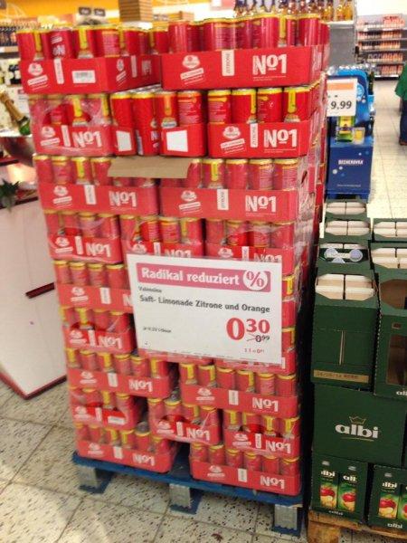 [lokal] GLOBUS ROSTOCK Valensina Saft-Limonade 0,33l Dose Zitrone oder Orange 0,30€ + 0,25€ Pfand