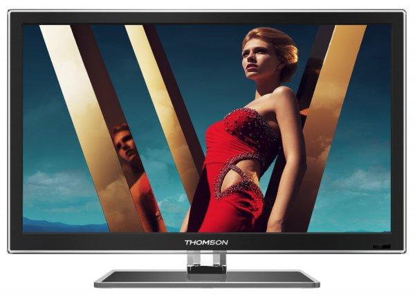 Thomson 24FW4323/G 61 cm (24 Zoll) LED-Backlight-Fernseher, EEK A (Full HD, DVB-C/T, 100Hz CMI, HDMI, CI+, USB 2.0, VGA, Hotelmodus, Glasfuß) schwarz