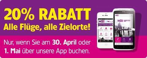 20% Rabatt auf alle Wizz Air-Flüge!*