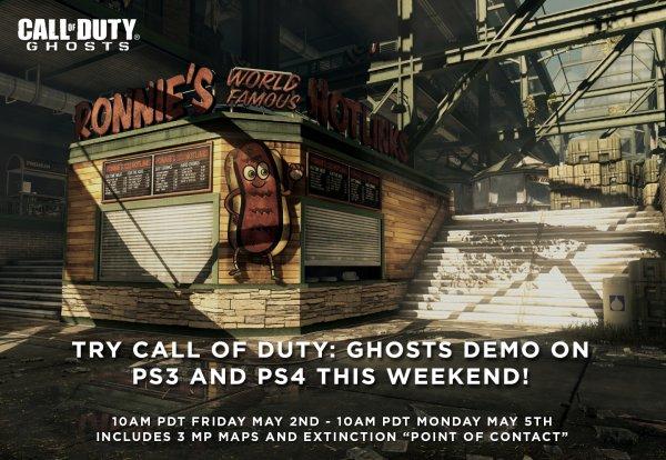 [PSN] COD Ghosts kostenlos 3 Mehrspieler Maps (Strikezone, Warhawk und Prison Break+den neuen Koop Modus Extinktion) am Wochenende Testen