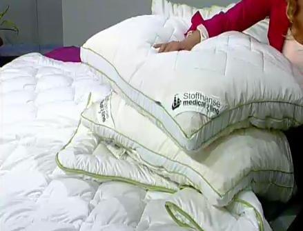 2  Bettdecken (135x200) für 22 €, 2 Seitenschläfer Kissen (40x80) für 15,90 € und 2 Kissen (80x80) für 19,90 € + zwei 5€-Gutscheine @1-2-3.tv