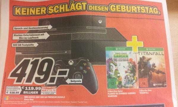 *MM ULM*XBOX One 500GB Premium Bundle inkl. Plants VS Zombies Garden Warfware und Titanfall