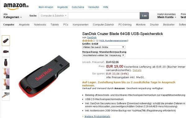SanDisk Cruzer Blade 64GB USB-Speicherstick @ ohne Amazon Prime 22€