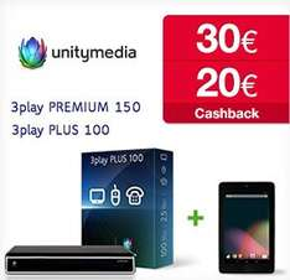 Unitymedia: 3Play Tarife 100 und 150 mit gratis Nexus 7 Tablet und bis zu 30€ Cashback!