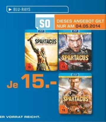 Saturn Wuppertal - Spartacus Staffeln Blu-ray für je 15 € NUR am 04.05.14