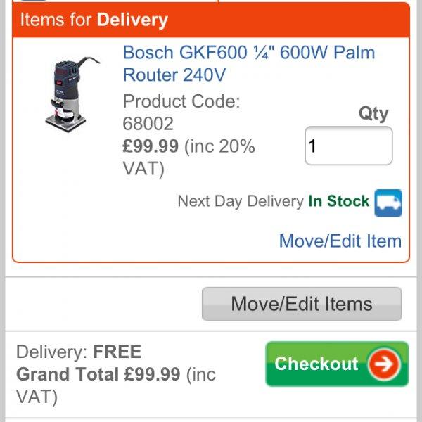 Srewfix: Bosch GKF600 Profi Kantenfräse für 99,99£