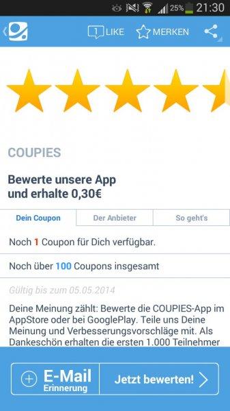 [Coupies] 30 Cent für Bewertung der App