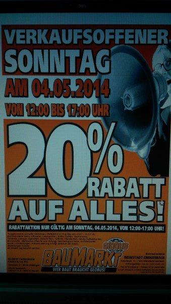 [Lokal] 20% Rabatt auf Alles - Globus Baumarkt Weinstadt-Endersbach