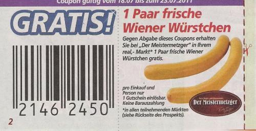 [Lokal?] Ein Paar Wiener Würstchen for free @ REAL