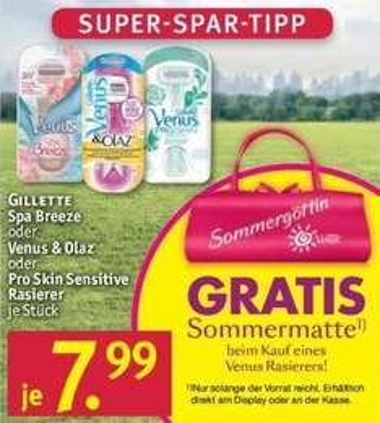 [ROSSMANN & MÜLLER BUNDESWEIT] Gilette VENUS Rasierer für nur 4,99€ + Sommermatte gratis (Coupon + Angebot)
