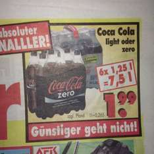 (Lokal Kassel) Coca Cola Light o. Zero 6x 1,25L für 1,99 Euro (+Pfand)