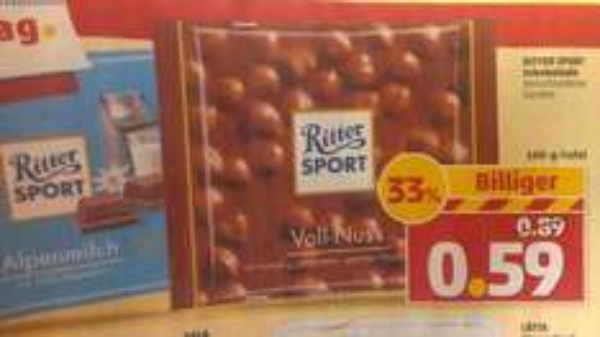 Ritter Sport Schokolade 100 Gramm für 0,59€ bei Penny