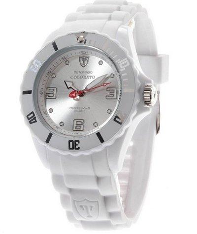Amazon Blitzangebot DeTomaso Unisex-Armbanduhr COLORATO White DT2012-A 9.99€