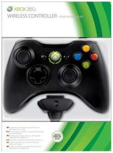 Xbox 360 Wireless Controller + Play & Charge Kit Bundle (Black) [@TheHut.com]
