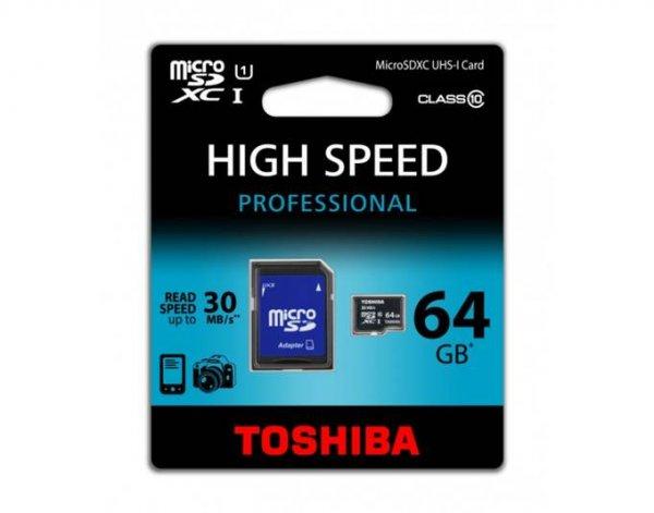 TOSHIBA 64GB MICRO SDXC CLASS 10 Speicherkarte für 26,99€ als Preisknaller der Woche bei Meinpaket