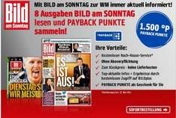 [Mit Gewinn] Bild am Sonntag BAMS-Payback WM Aktion Gewinn von 6,40€