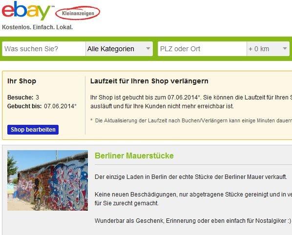 ebay Kleinanzeigen Shop | 1 Monat kostenlos testen !! | Lokal BERLIN | Nur Gewerbetreibende