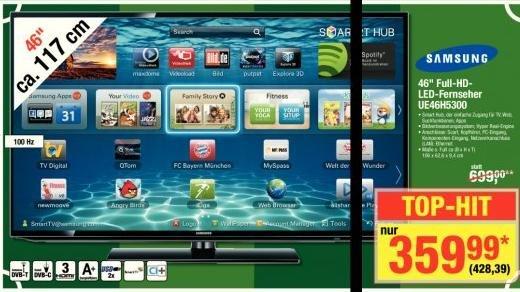 [Metro 15.5. - 21.5] Samsung UE46H5300 46'' Full HD LED Smart TV, 100Hz CMR, fast 50 Euro unter Amazon