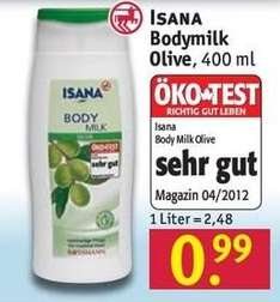[ROSSMANN BUNDESWEIT] Isana Bodymilk Olive für 0,49€ (Angebot + Sofort-Rabatt-Coupon) 50% Rabatt