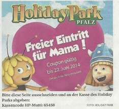 [Holiday Park] Freier Eintritt für Mütter bis 22.Juni mit Coupon