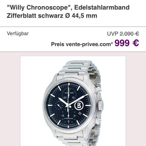 Junghans Willy Chronoscope Edelstahl 999€ @vente-privee - Vergleichspreis: 1445,80 €