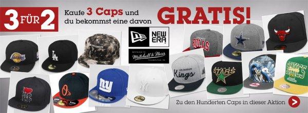 3 Caps zum Preis von 2  z.B. New Era, Mitchell & Ness
