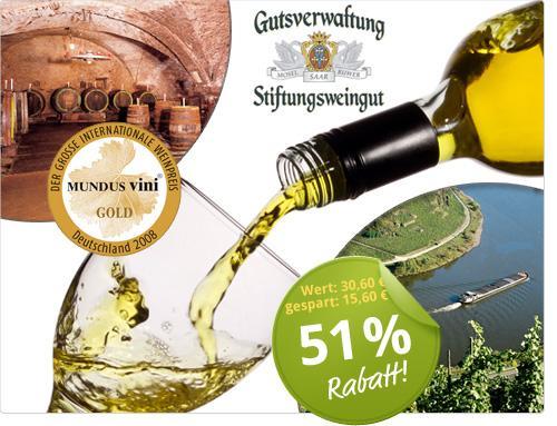 Gutsverwaltung Stiftungsweingut Riesling - Weindeal von der Mosel  15€ zu 30,60€