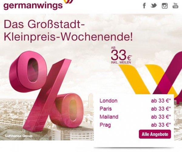 Großstadt-Kleinpreis-Wochenende bei Germanwings - One-Way-Tickets ab 33 Euro