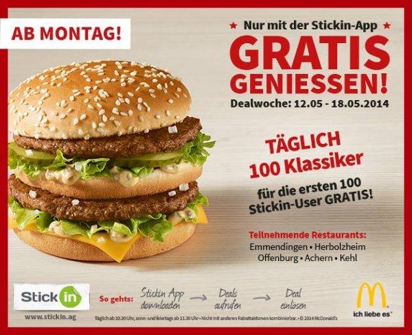 [lokal, Offenburg und Umgebung] Jeden Tag 100 gratis Burger bei McDonald's vom 12.-18.05.