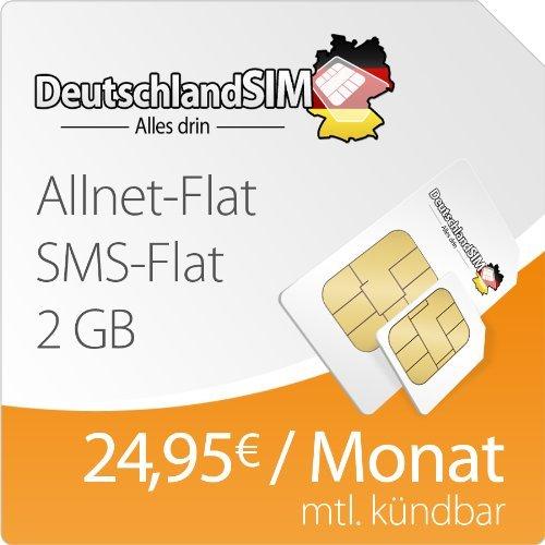 BLITZANGEBOT DeutschlandSIM Flat L 2000 [SIM und Micro-SIM] monatlich kündbar (2 GB Daten-Flat mit max. 14,4 MBit/s, Telefonie-Flat, SMS-Flat, 24,95 Euro/Monat) O2-Netz