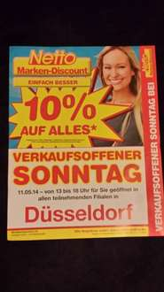 [lokal - Düsseldorf]11.05.2014: 10% auf alles* bei Netto am verkaufsoffenen Sonntag