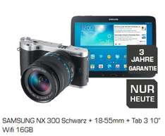 "[Saturn Super Sunday] SAMSUNG NX 300 Schwarz + 18-55mm + Galaxy Tab 3 10"" Wifi 16GB ab 488€"