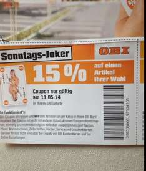 [LOKAL] - OBI -15% auf Alles in Lehrte, gilt aber nur am 11.05.2014