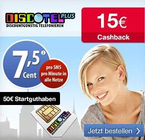 Discotel plus mit 50 Euro Startguthaben für 9,95 Euro und 15 Euro Cashback über qipu sichern !! effektiv 5,05 Euro Gewinn