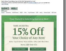 Barnes & Noble 15% OFF bei B+N => Tablet HD+ Nook bspw. für ca. 110€