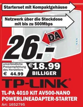 [Media Markt Speyer] TP-Link TL-PA 4010 KIT AV500 Powerline-Netzwerkadapter 2er Starterkit