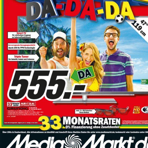 Grundig 47 VLE 973 BL 119,4 cm (47 Zoll) 3D LED-Backlight-Fernseher, EEK A+ (Full HD, 200 Hz PPR, DVB-T/C/S2, SmartTV) schwarz @MM Worms