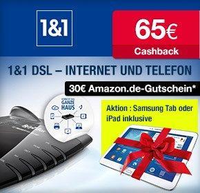 [Qipu] 1&1 Doppel-Flat 16.000 mit 65€ Cashback für Empfehlung+ 30€ Amazon Gutschein 1und1