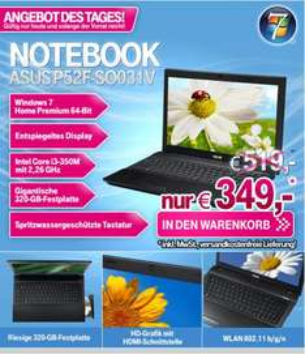 T-ONLINE Angebot des Tages:  ``ASUS Notebook`` 349 Euro