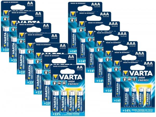 56 Varta High Energy Alkaline Batterien (28x AA Mignon + 28x AAA Micro) für 19,99 EUR @eBay