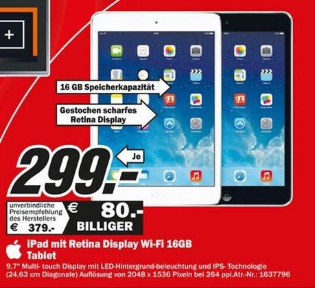 Apple iPad Retina 16GB WiFi für 299€ Lokal [Mediamarkt Weiterstadt]