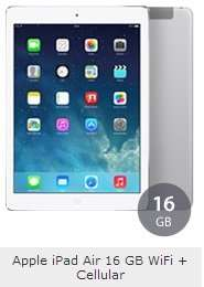 iPad Air 16GB Wifi+4G mit 15€ Vertrag für insgesamt 467,80€