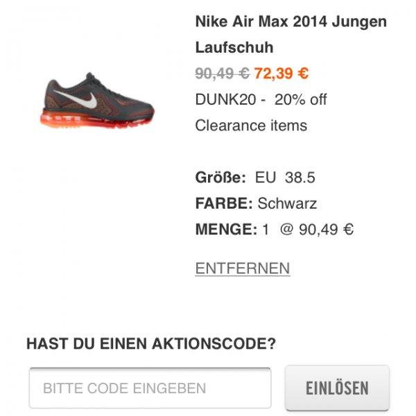 Nike Air Max 2014 für 72,39 Euro Dank Gutschein ! Gr. 36-38,5 (Jungen)