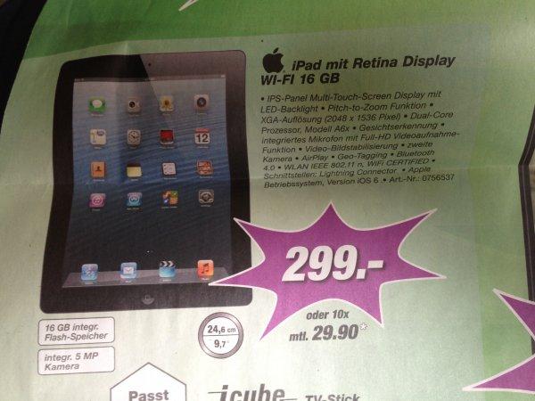 iPad 4 WI-FI 16 GB Retina für 299,-